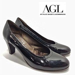 AGL Black Premium Patent Pumps Heel Sz 41